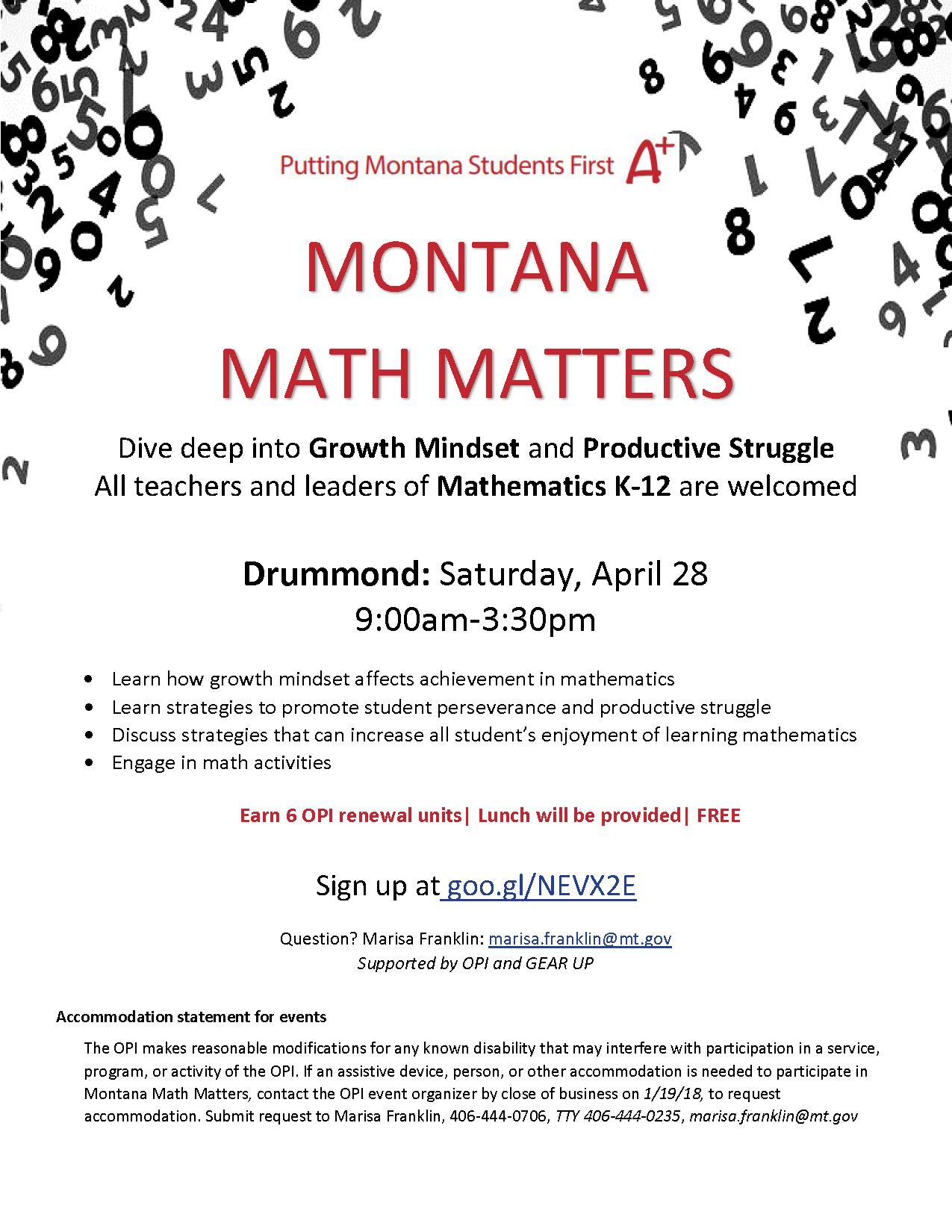 Montana Math Matters Growth Mindset And Productive Struggle